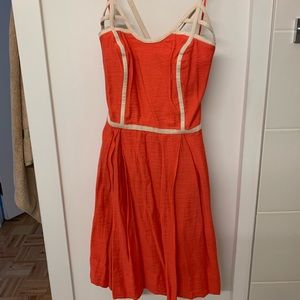 Jessica Simpson coral piped fit and flare dress 4